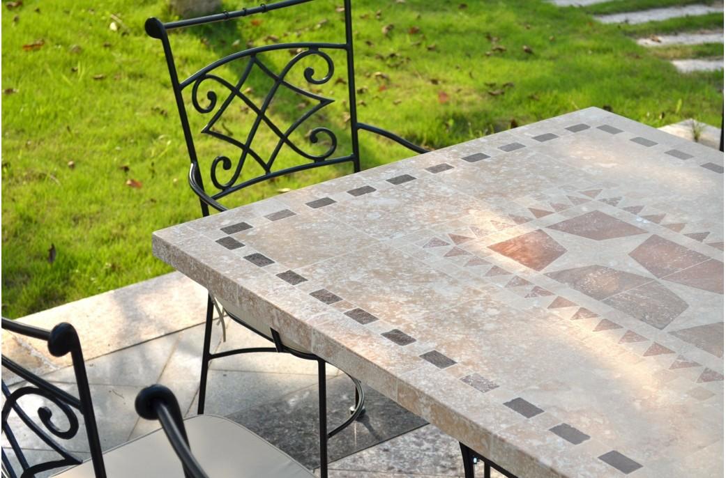 Table De Jardin Mosaque En Pierre Naturelle TAMPA 160 Et