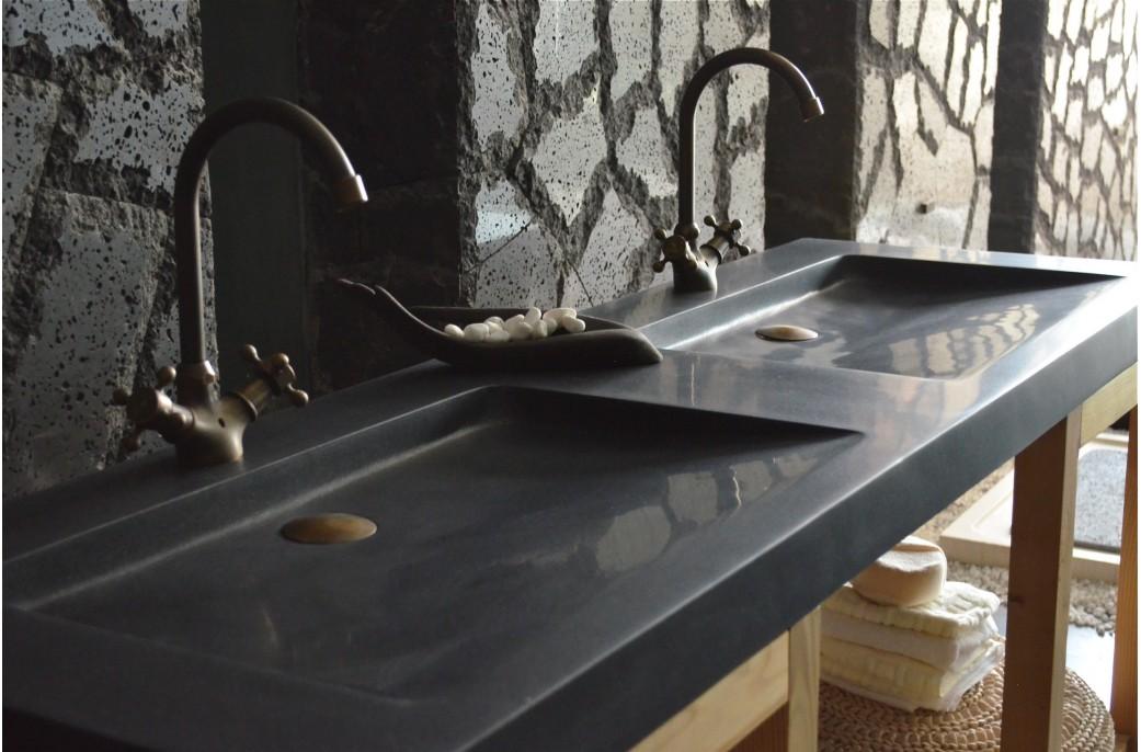 double vasque en pierre salle de bain 160x50 granit noir folege shadow