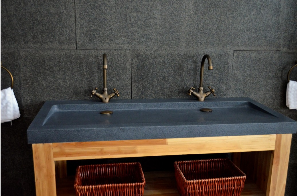 Double Vasques En Pierre YATE Poser 120x50 Granit Haut