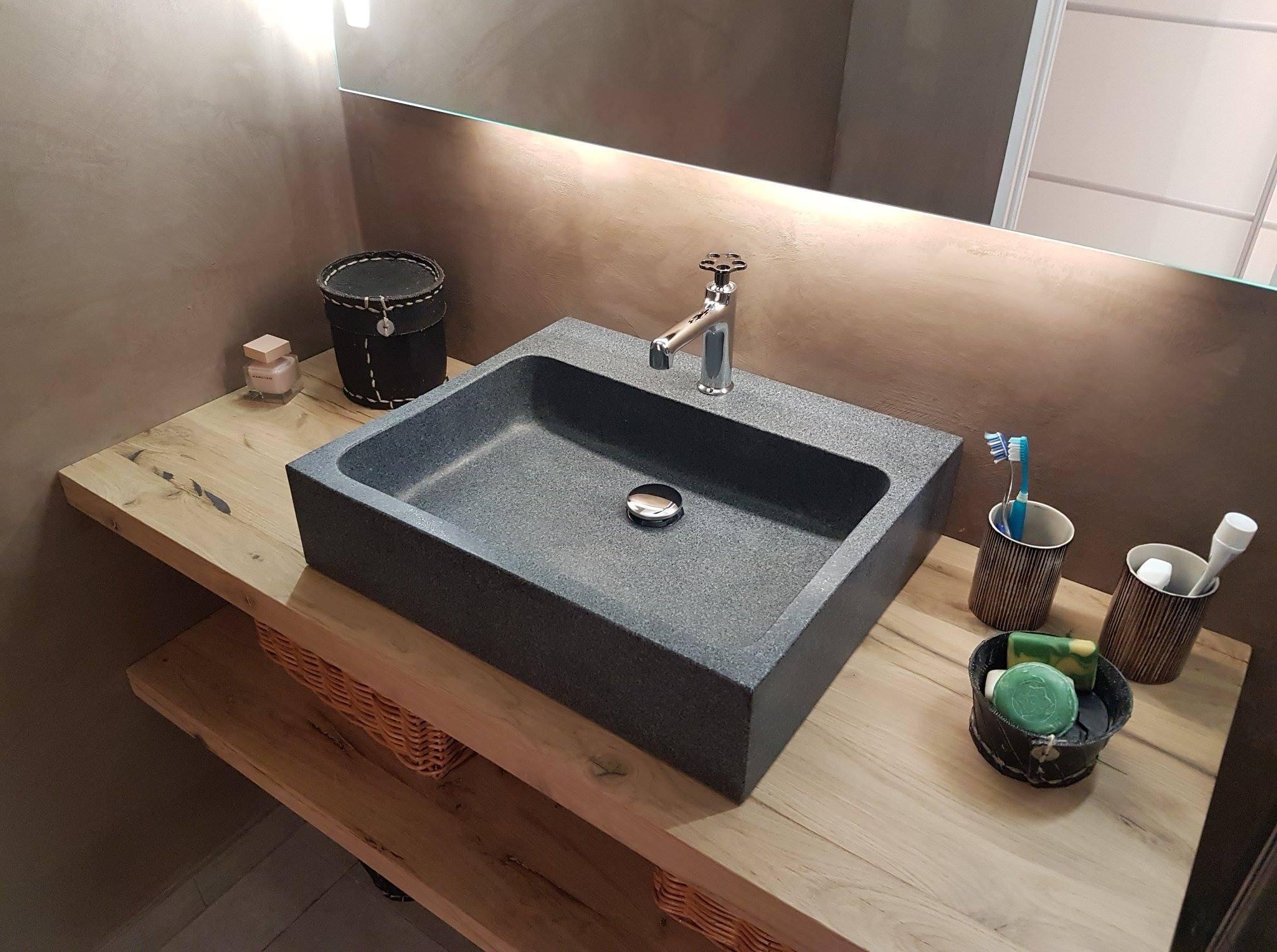 vasque salle de bain evier granit gris trou robinetterie integre alpha