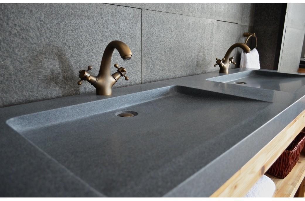 Double Vasque Salle De Bain Pierre 160x50 Granit Gris Veritable Folege