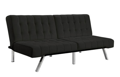 Tufted Bonded Leather Sleeper Sofa with Split Back