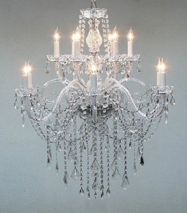 AUTHENTIC ALL CRYSTAL CHANDELIER H38″ X W32″