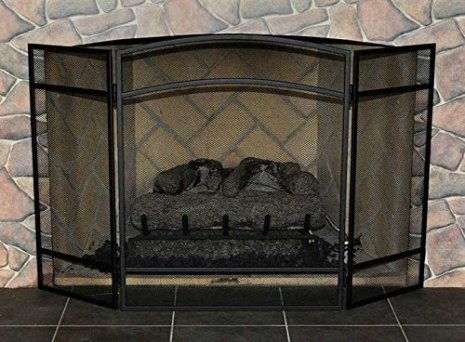 Woodeze 3 Panel Arched Folding Fireplace Screen - 30''H x 48''W - Black
