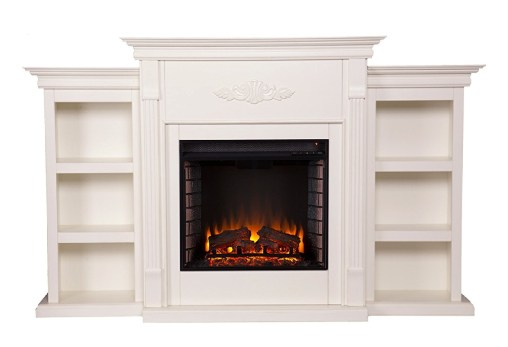 Tennyson Electric Fireplace w/ Bookcases – Ivory
