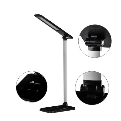 TaoTronics LED Desk Lamp, Dimmable LED Table Lamp, Cool White Reading Light, Eye-caring Book Light (3-Level Dimmer, Touch-Sensitive Control, Night Light, Glossy Black, 6W)