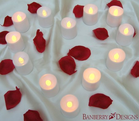 LED Flameless Candles - Set of 24 Flickering Votive Candles - Banberry Designs - LED - Flame Free Votive Candles