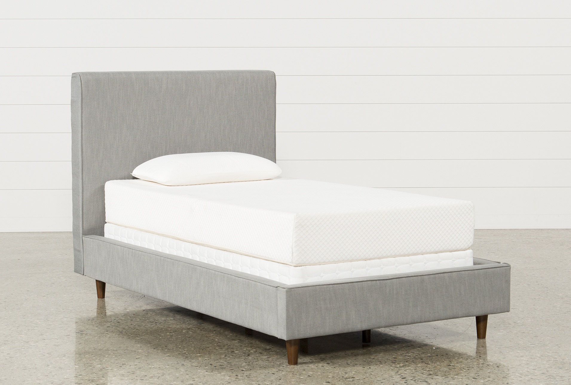 Dean Charcoal Twin Upholstered Panel Bed Living Spaces