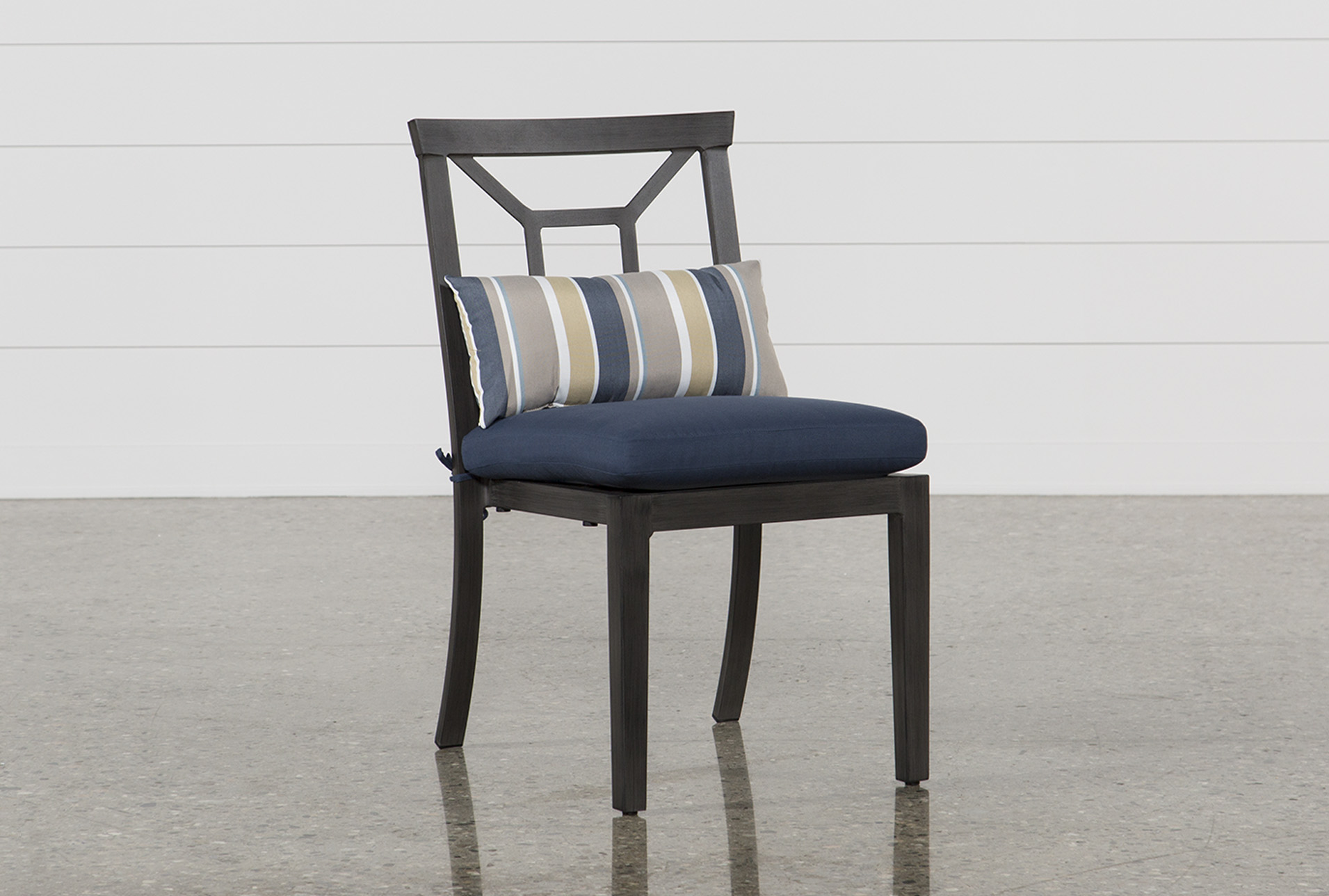 Martinique Navy Outdoor Dining Chair   Living Spaces on Living Spaces Outdoor Dining id=72220