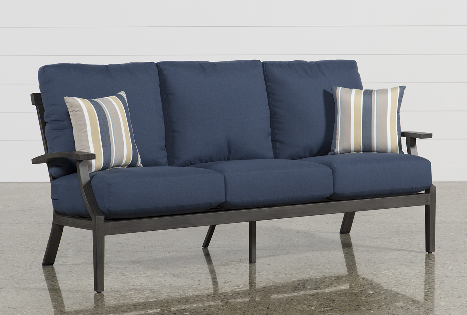 Martinique Navy Outdoor Sofa   Living Spaces on Living Spaces Outdoor Sectional id=27856