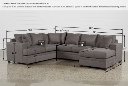kerri charcoal 2 piece 126 sectional with right arm facing chaise