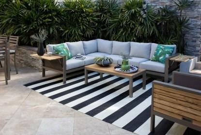 8 x11 outdoor rug black white cabana stripe