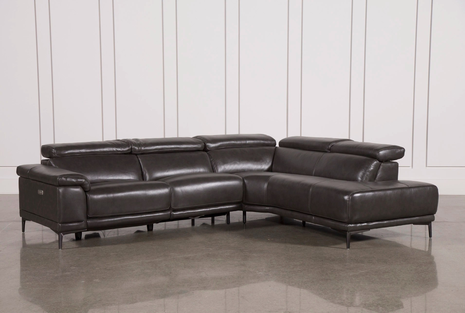tatum dark grey 2 piece 116 sectional with right arm facing armless chaise