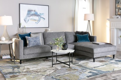 cosmos grey 2 piece 112 sectional with right arm facing chaise