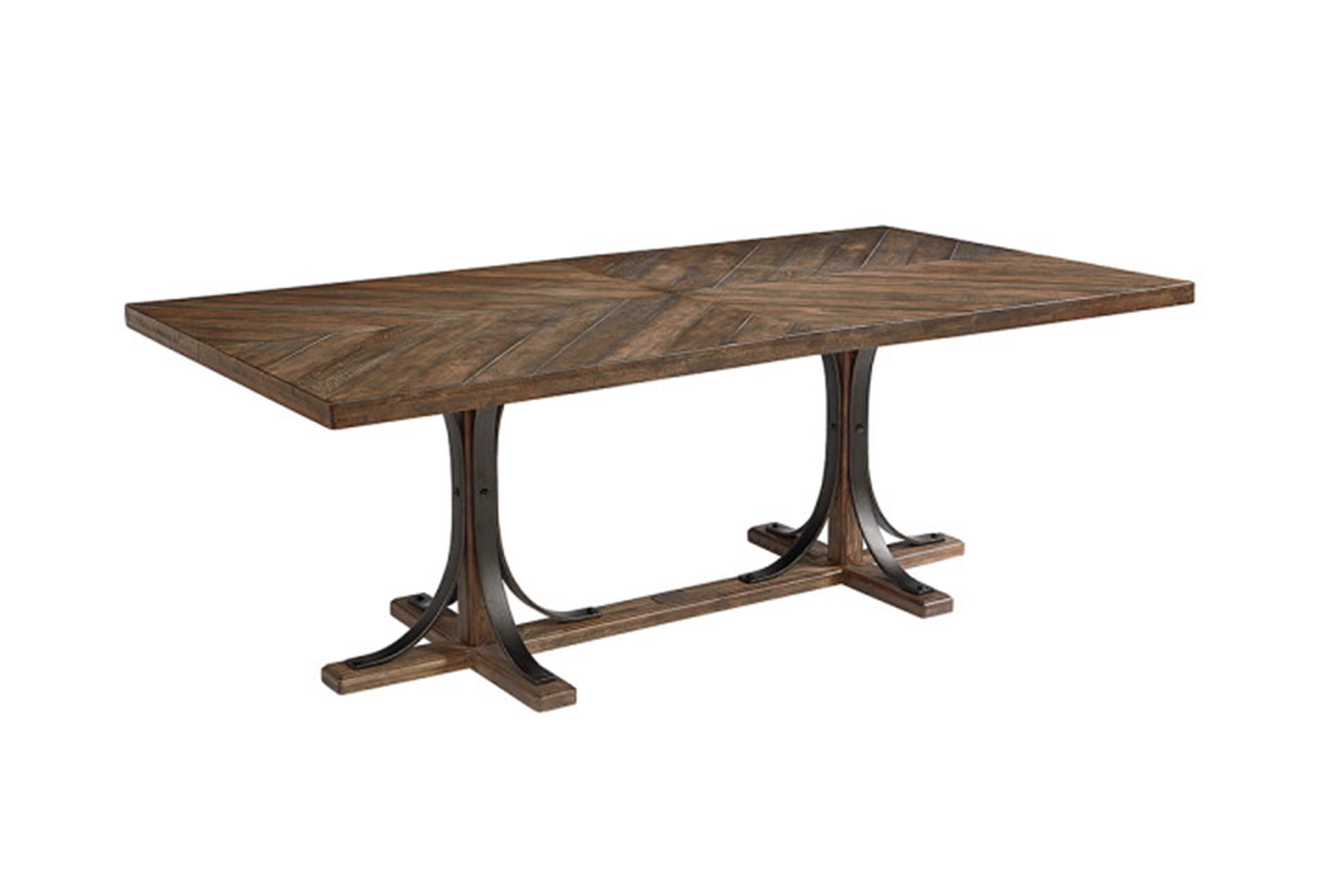 Magnolia Home Shop Floor Dining Table With Iron Trestle By