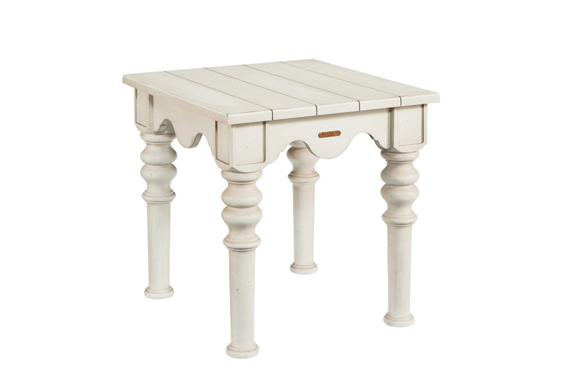 Magnolia Home Scallop Antique White End Table By Joanna