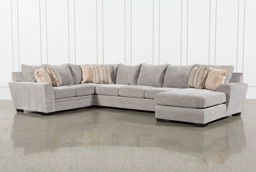 Sectionals   Sectional Sofas   Living Spaces Delano Smoke 3 Piece Sectional