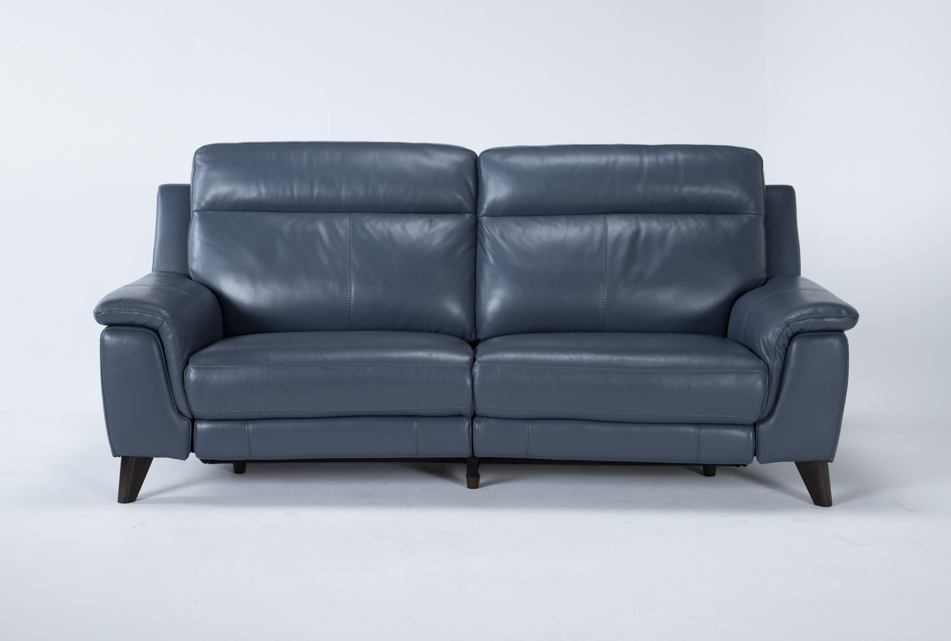 moana blue leather dual 87 power reclining sofa with usb