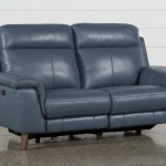 Moana Blue Leather Dual 70 Power Reclining Loveseat With Usb Living Spaces