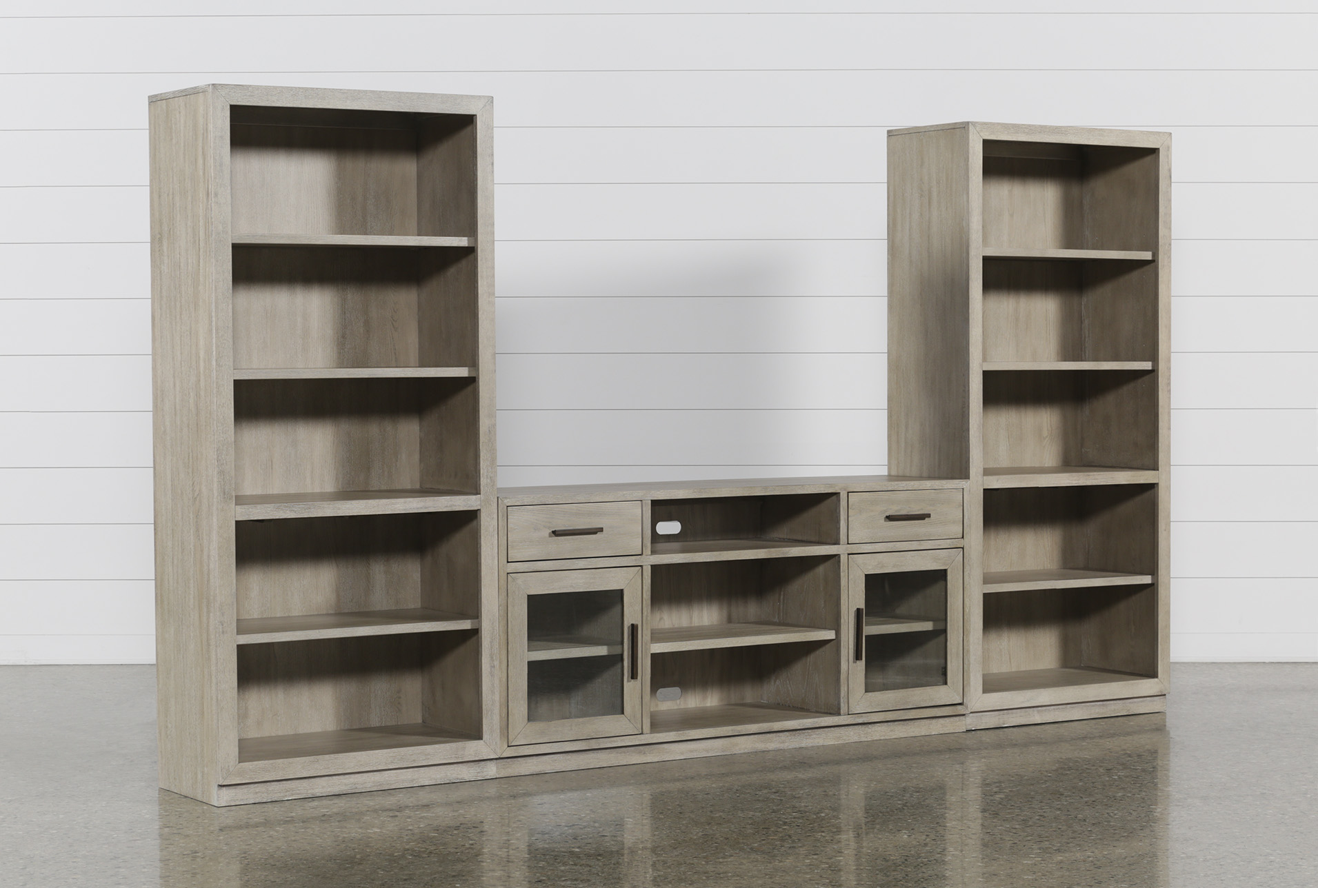 Pierce Natural 3 Piece Wall With 64 Inch Tv Stand And Bookcase Piers