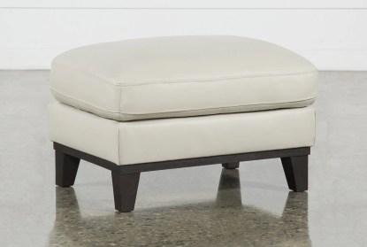 kathleen cream leather ottoman