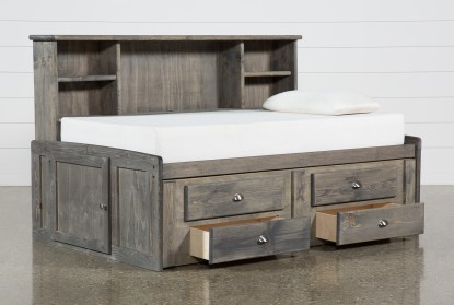 summit grey twin bookcase daybed bed with 2 drawer captains trundle