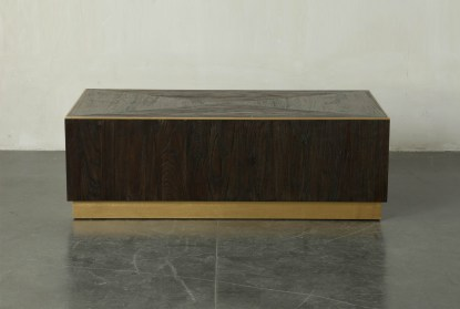 dark brown and gold rectangle coffee table