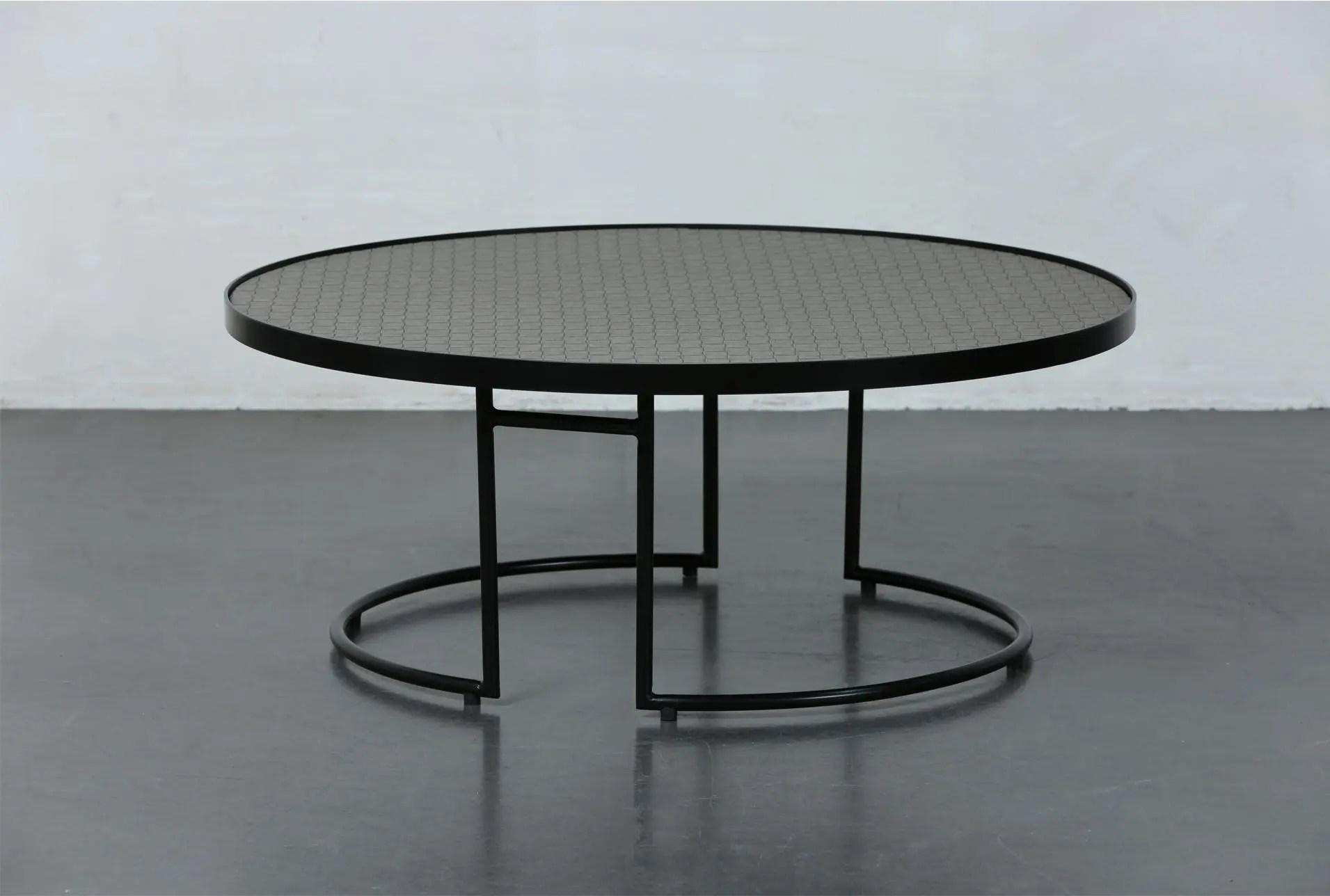 black brown metal round coffee table
