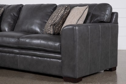 greer dark grey leather 2 piece 108 sectional with left arm facing chaise right arm facing loveseat