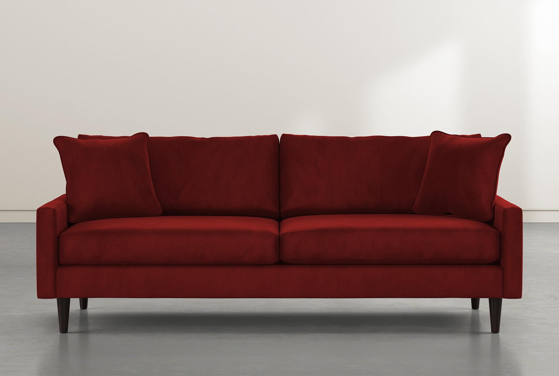 "Beautiful chesterfield sofa in deep burgundy/ red wine velvet fabric. Vivian 88"" Burgundy Velvet Sofa | Living Spaces"
