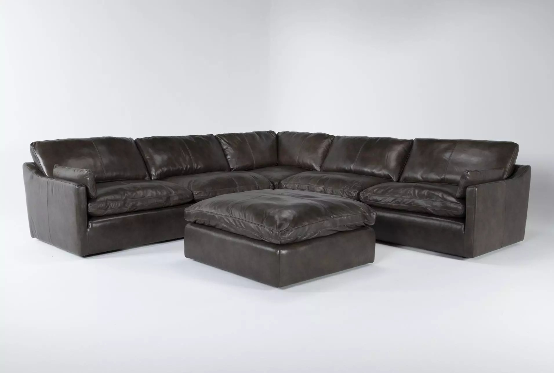 marcello leather 5 piece 127 sectional with ottoman