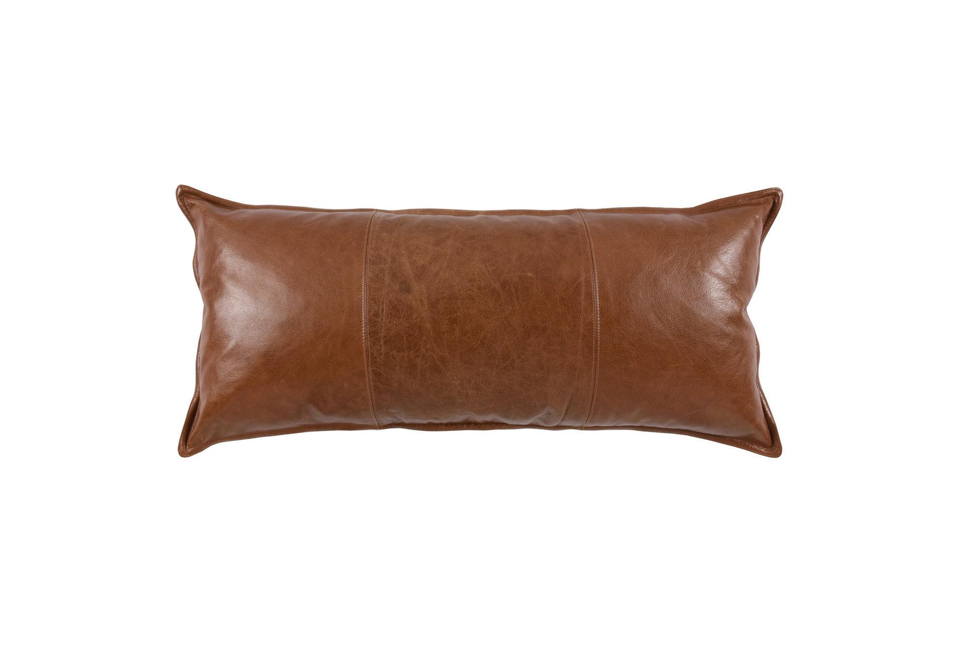 16x36 cognac brown pieced leather lumbar throw pillow
