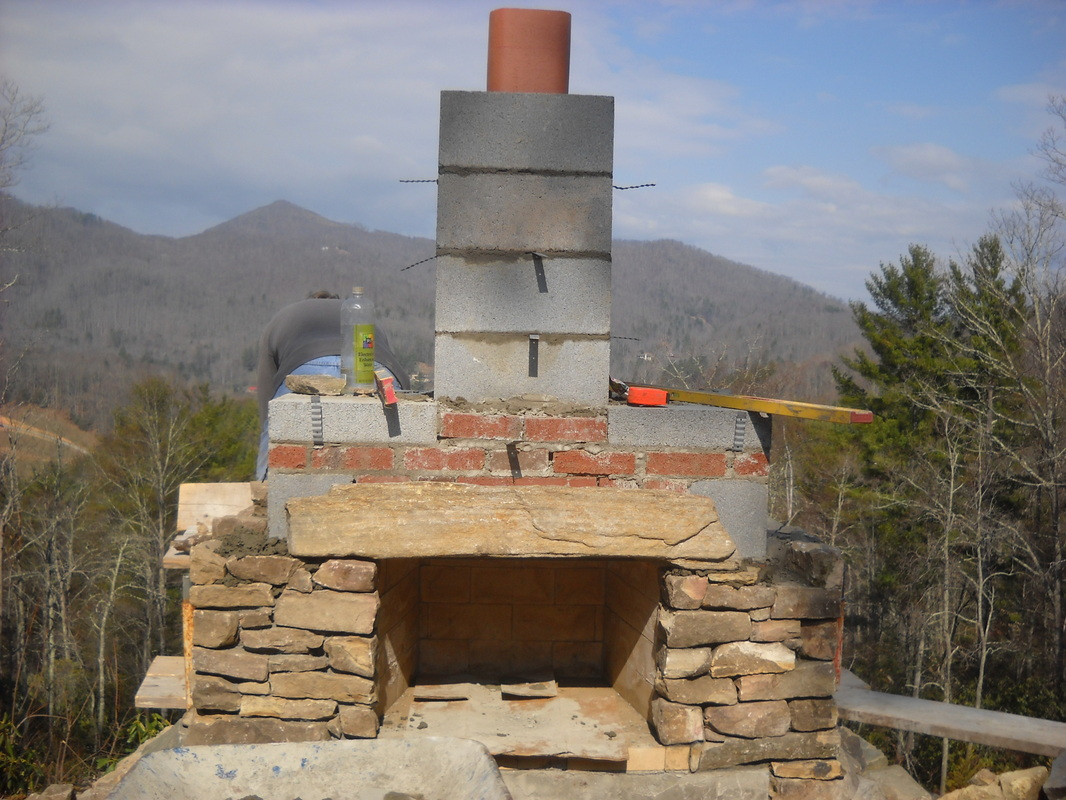 stonetutorials - Living Stone Masonry on Building Outdoor Fireplace With Cinder Block id=85611