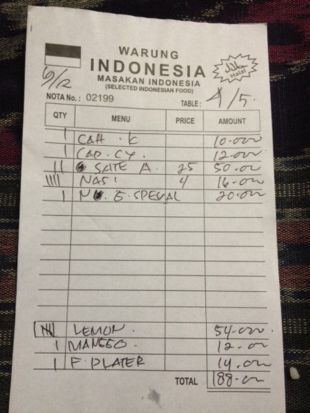 Indonesian Bali Food Price List