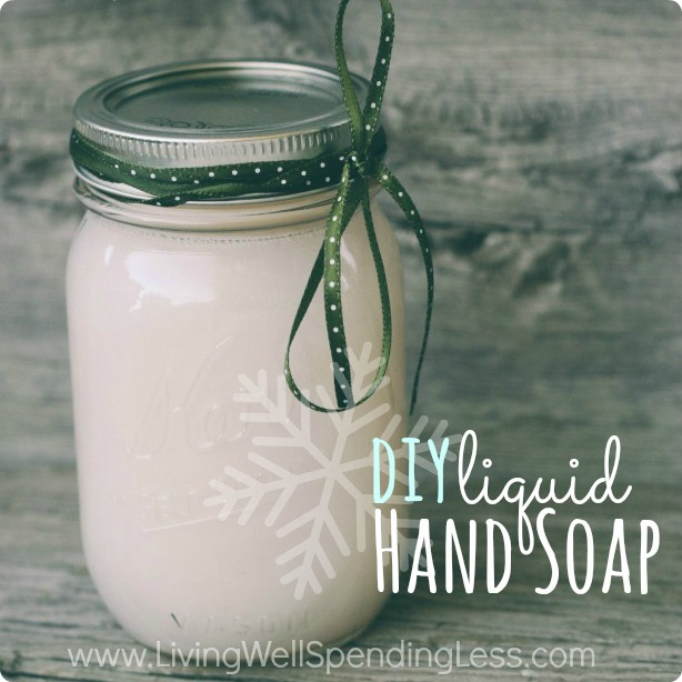 DIY Hand Soap.  Great tutorial for making your own hand soap using leftover bar soap.  This is such an easy and thrifty gift idea!