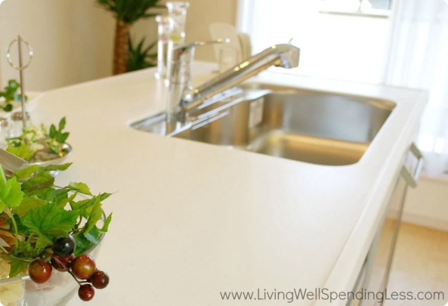 Beginner s Guide to Cleaning Part 4   Living Well Spending Less     Clean kitchen counter tops and a clean silver kitchen sink