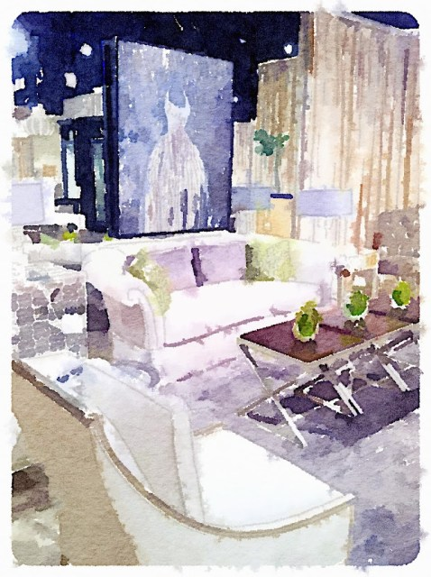interiors photos transformed into watercolors by Waterlogue app