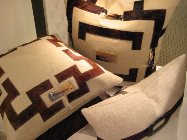 Leather trimmed linen pillows