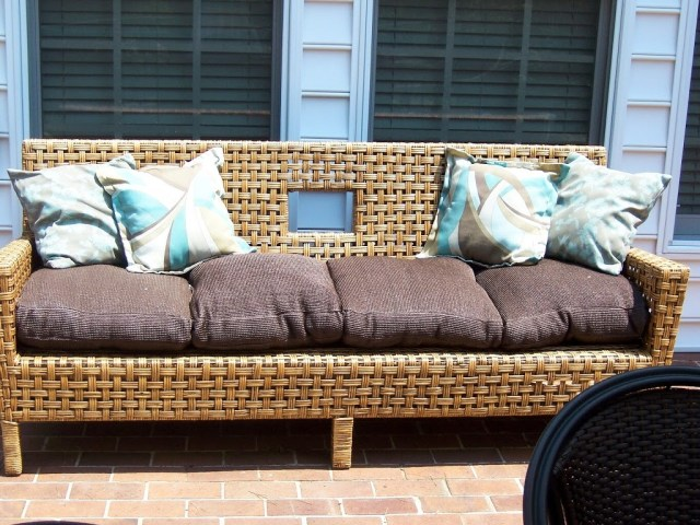 modern basket weave wicker sofa and pillows