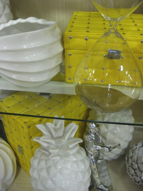 silver studded yellow leather covered boxes