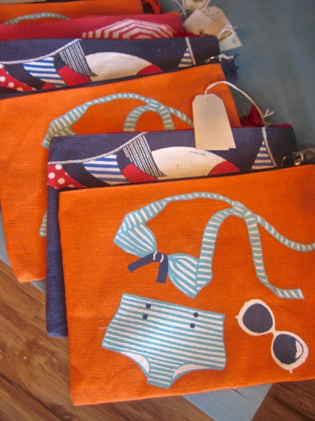 Summer themed totes in orange or navy