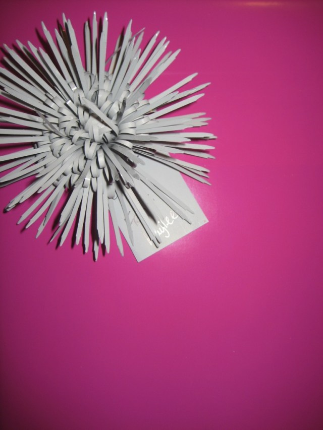 Bright Pink Wrapping Paper With A Soft Grey Bow