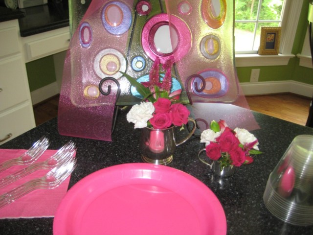 Kid plates for pink and grey baby shower