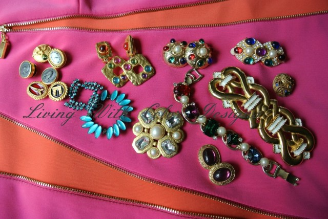 costume Jewelry in gold tones  livingwithcolordesigns.com