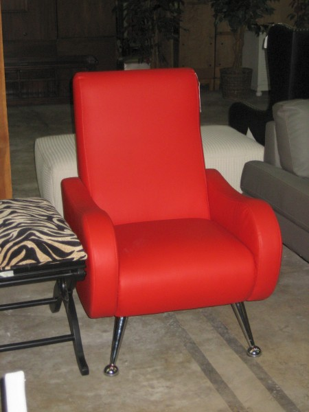 Modern red leather chair