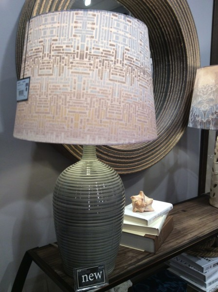 Circular rope mirror and ceramic lamp