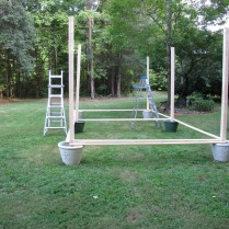 DIY: Hanging Outdoor String Lights- Living With Color Designs Blog- Laying it out on your yard