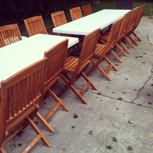 Outdoor folding chairs for long dining table- Living With Color Designs