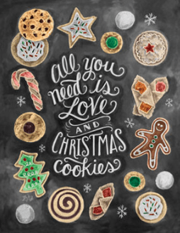 Chalkboard print Love and Christmas Cookies - Lily & Val- Living With Color Designs Blog