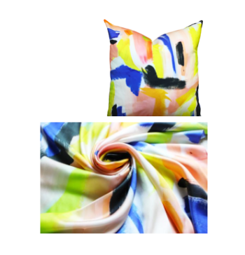 "Brushstrokes Silk Scarf, Yellow|Blue|Peach|BlacK- 36"" Square : The Color Boutique At Living With Color Designs"